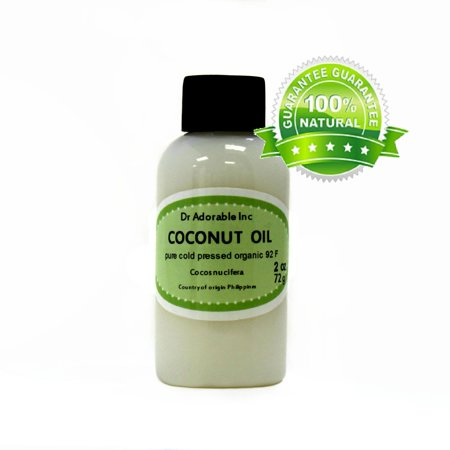Dr. Adorable - 100% Pure Coconut 92 F Oil Organic Cold Pressed Refined Moisturizing Oil For Face Skin Hair - 2 (Refined Expeller Pressed Coconut Oil For Skin)