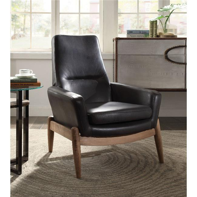 Benzara Bm185608 Faux Leather Upholstered Wooden Accent