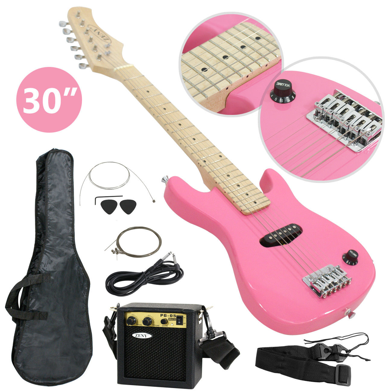 "ZENY 30"" Kids Pink Electric Guitar With 5w Amp & Much More Guitar Combo Accessory Kit"
