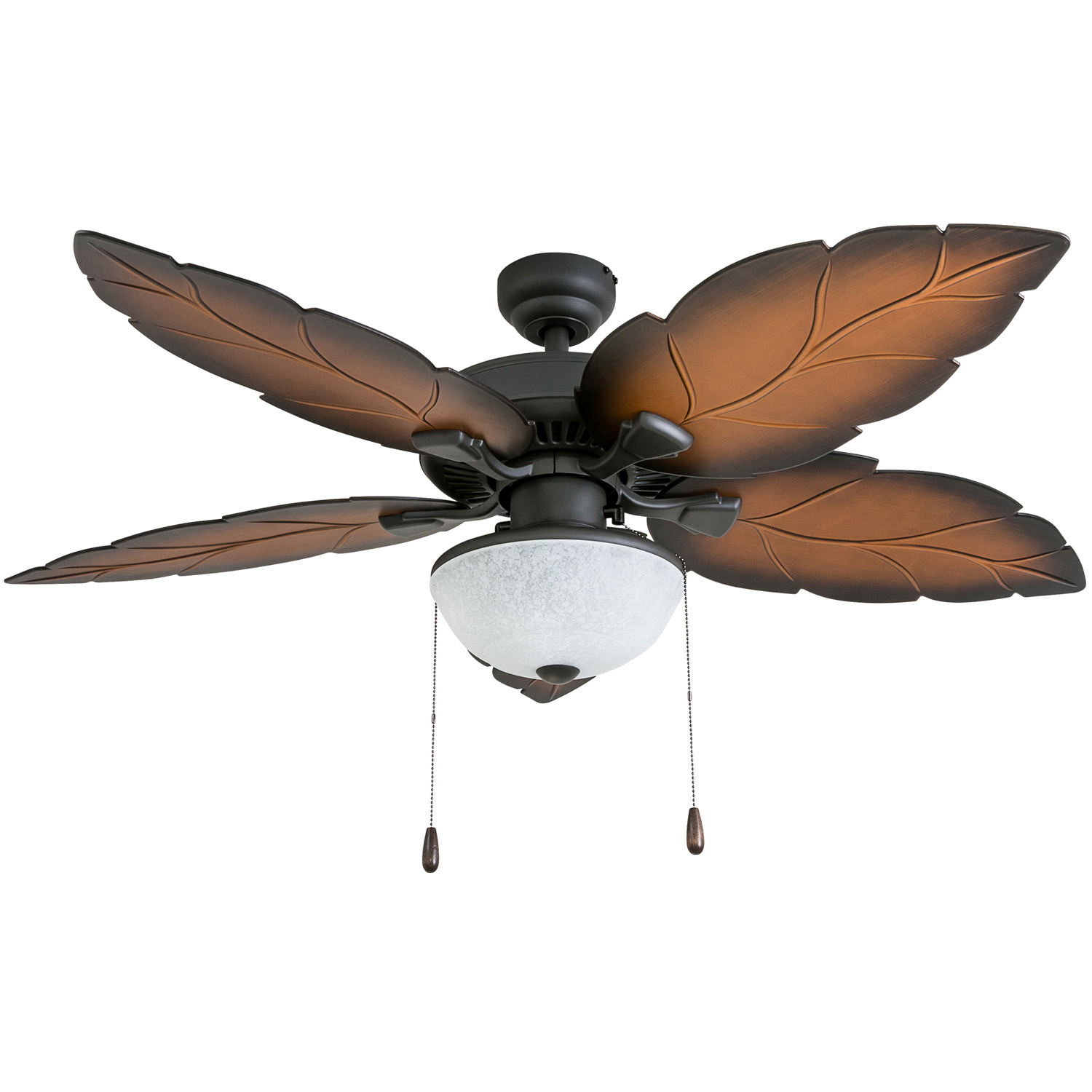 Prominence Home 50797-35 Santorini Tropical 52-Inch Tropical Bronze Damp Rated Ceiling Fan, Bowl Light with Mocha Blades and bluetooth capable remote
