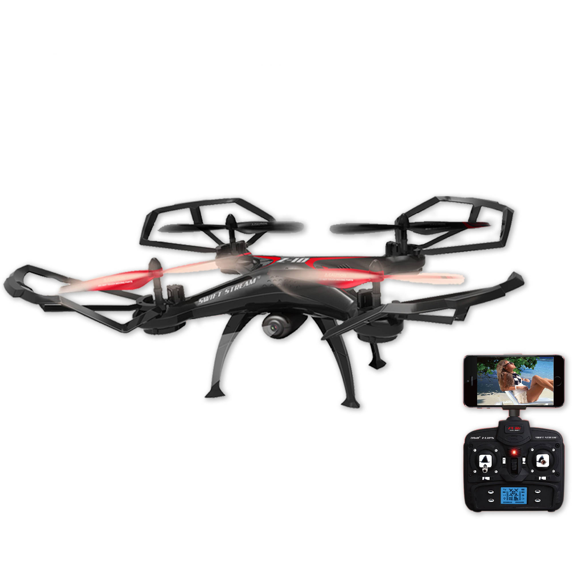 Swift Stream Z-10 Large 19in Hobby Grade Remote Control Quadcopter Drone with Wifi Camera, Black by Abrim Enterprises, Inc.