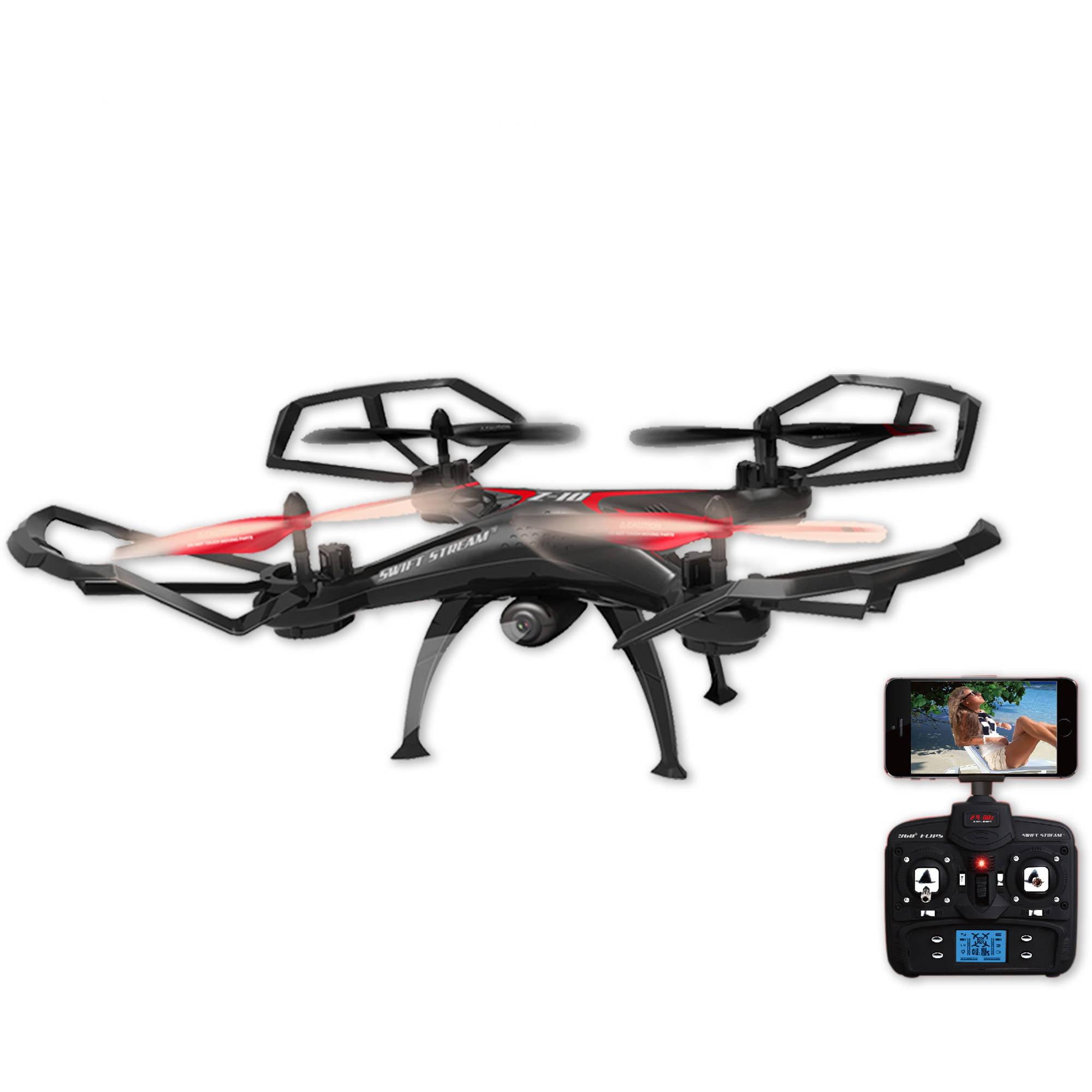 Abrim Enterprises, Inc. Swift Stream Z - 10 Large 19in Hobby Grade Remote Control Quadcopter Drone with Wifi Camera, Black