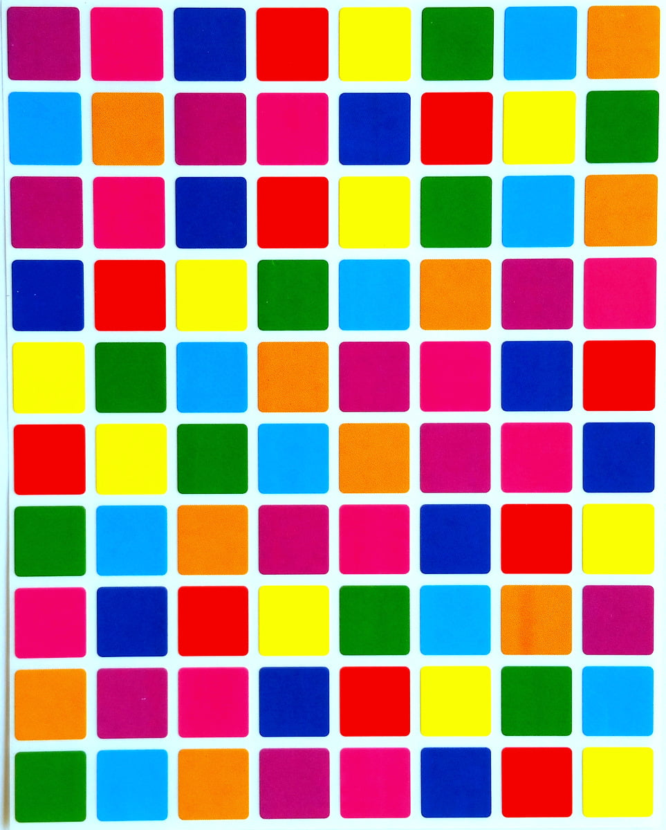 Square Color Coding Labels 1/2 Inch By 1/2 Inch-Assorted