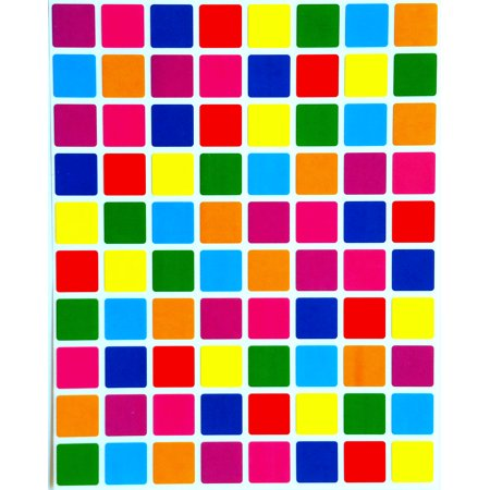 Square Color Coding Labels 1/2 inch by 1/2 inch-Assorted colors Stickers 8 Colors-Multi Pack-Classic colors semi gloss 1200 (1200 Sticker)