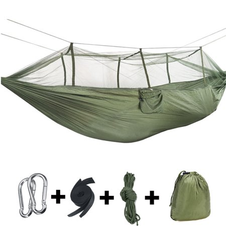 Double Person Outdoor Camping Hammock Tent (with Removable Mosquito Net) Including Straps, Carabiners & Rope– Heavy Duty Lightweight Best Nylon Parachute Hammock -
