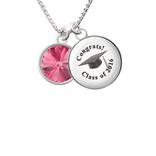 "12mm Crystal Rivoli - Hot Pink Class of 2016 Glass Dome Necklace, 18""+2"""