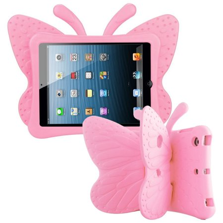 Shock Set Mini - iPad Mini 4 case iPad Mini 3 case by Insten Butterfly Rubber TPU Dual Layer [Shock Absorbing] Hybrid Shock Resistant Case Phone Cover For Apple iPad Mini 1/2/3/4