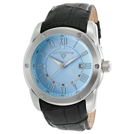 Swiss Legend 10005Q-012 Traveler Black Genuine Leather Light Blue Dial Watch