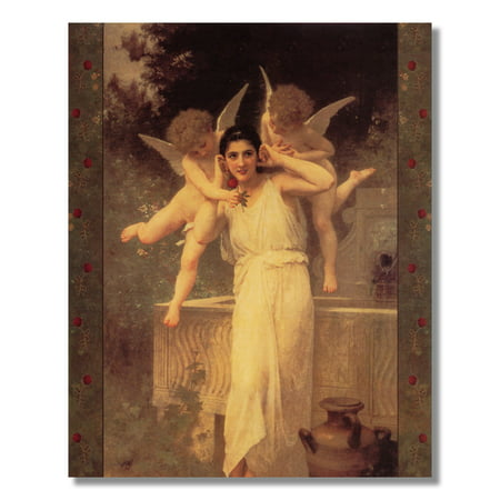 Art Com Victorian Print - Victorian L�Innocence Lady and Cherubs with Rose Wall Picture 8x10 Art Print