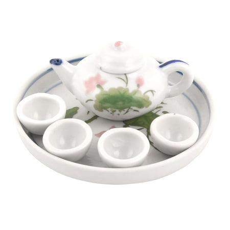 Unique Bargains Ceramic  Flower Leaf Pattern Plate Teapot Cup Craft Gift  Tea Set](Cut And Paste Halloween Crafts)