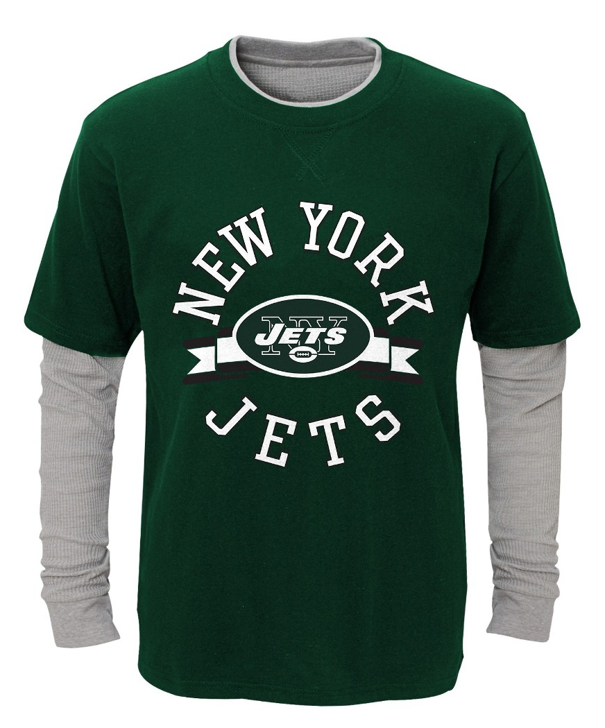 "New York Jets Youth NFL ""Definitive"" L S Faux Layer Thermal Shirt by Outerstuff"