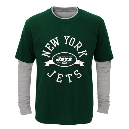 """New York Jets Youth NFL """"Definitive"""" L/S Faux Layer Thermal Shirt"""