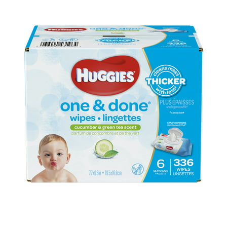 Huggies One Amp Done Baby Wipes Scented 6 Packs Of 56 336