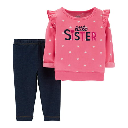 Child of Mine by Carter's Long Sleeve Fleece Top & Pants, 2-Piece Outfit Set (Baby Girls)