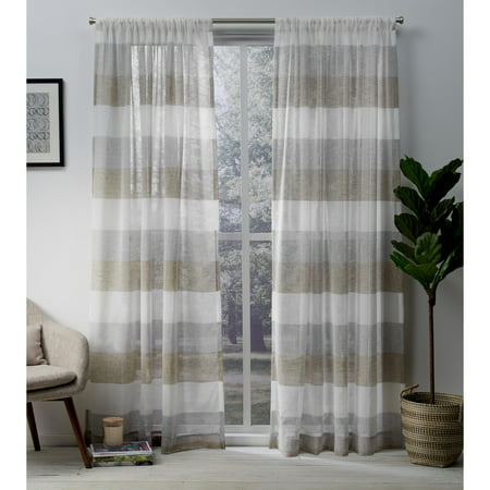 e9a4d875 Exclusive Home Curtains 2 Pack Bern Stripe Sheer Rod Pocket Curtain Panels  - Walmart.com