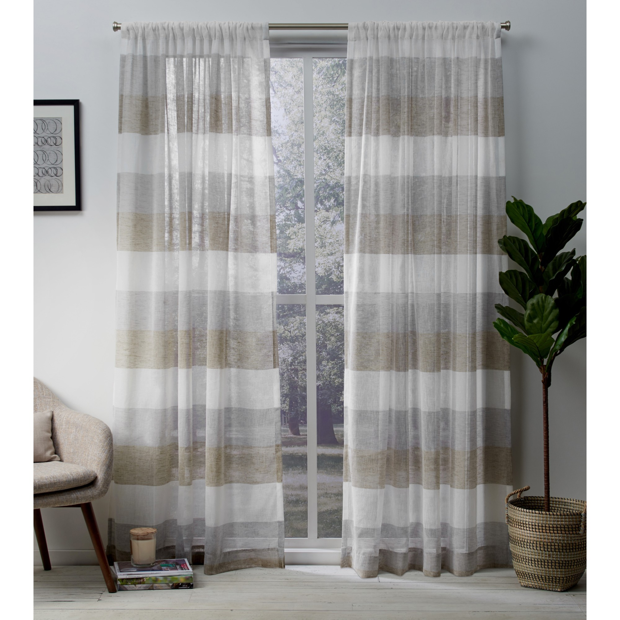 Exclusive Home Bern Stripe Sheer Window Curtain Panel Pair with Rod Pocket