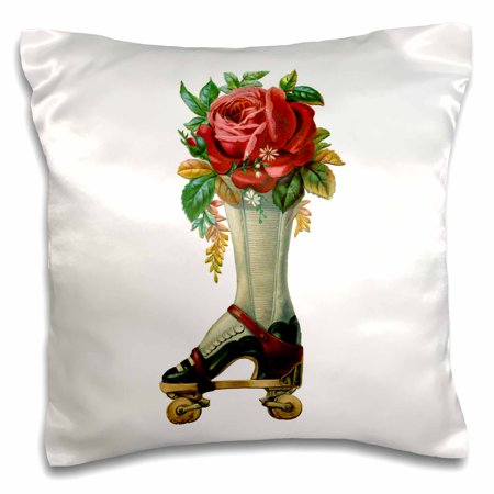 3dRose Vintage Victorian Steampunk Roller Skate Boot with Red Rose Bouquet, Pillow Case, 16 by 16-inch