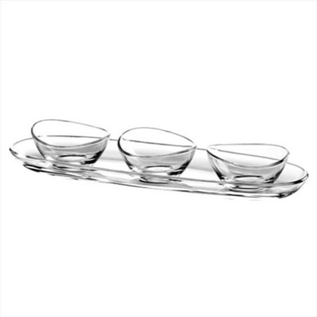 Majestic Gifts E60977-US Papaya 11.8 x 3.75 in. High Quality Glass Set Of 1 Small Tray Plus 3 Small Bowls - image 1 of 1