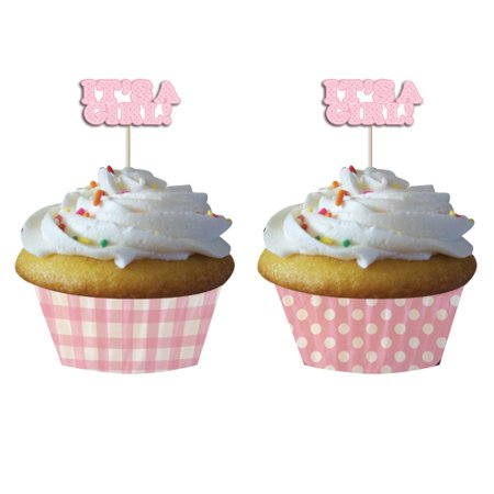 It's A Girl Pink Cupcake Decorating Set for 12 Cupcakes