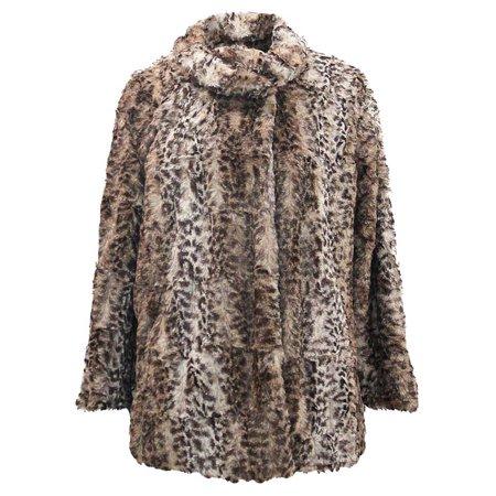 Faux Fur Plush Leopard Womens Coat