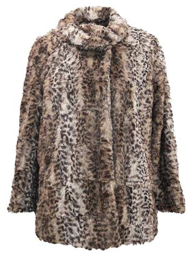 14115686ad Product Image Faux Fur Plush Leopard Womens Coat