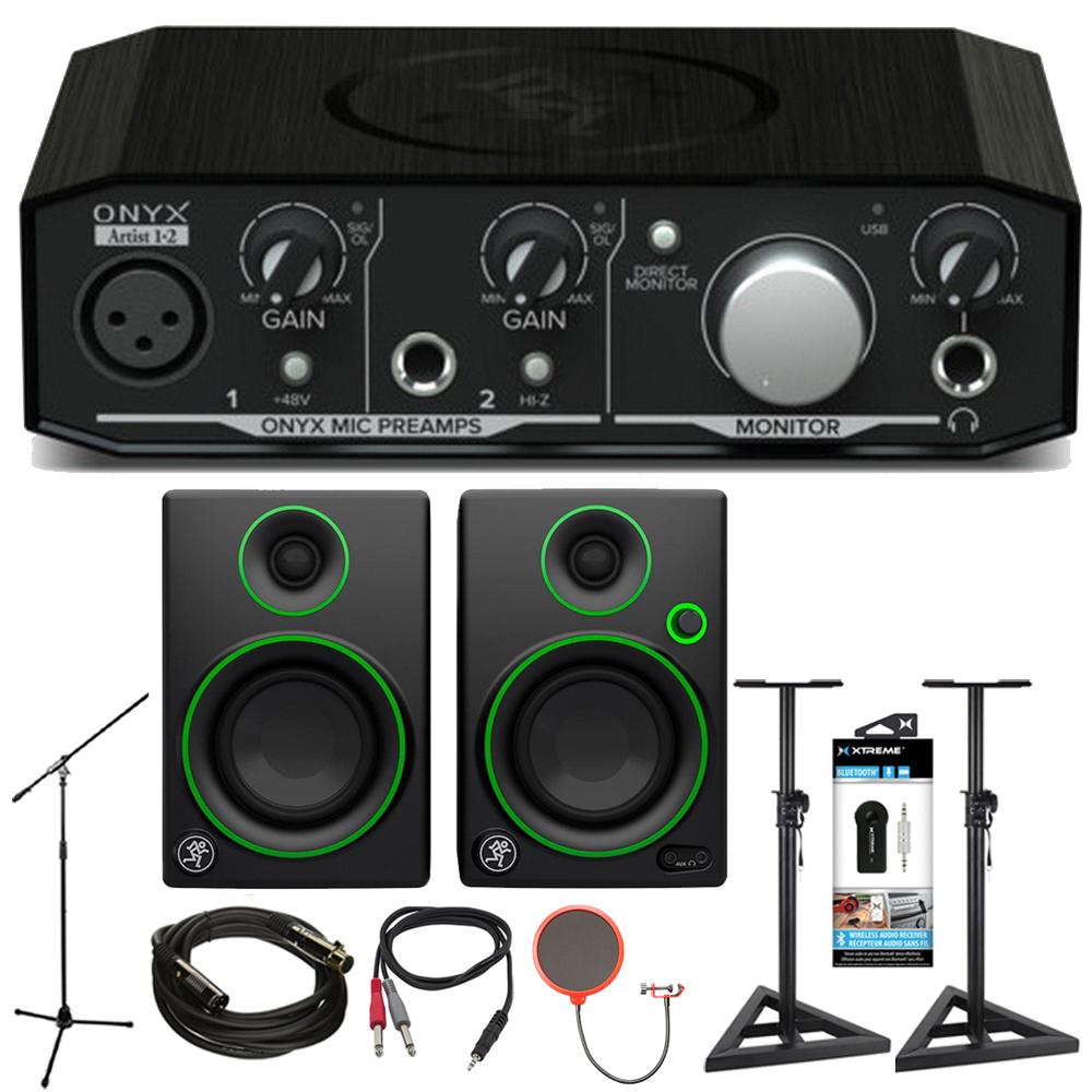 "Mackie Onyx Artist 1-2 2x2 USB Audio Interface with CR3 3"" Multimedia Speaker Bundle"