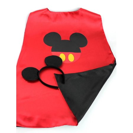 Cartoon Costume - Mickey Mouse Logo Cape and Mask with Gift Box by Superheroes - Adult Mickey Mouse Halloween Costume