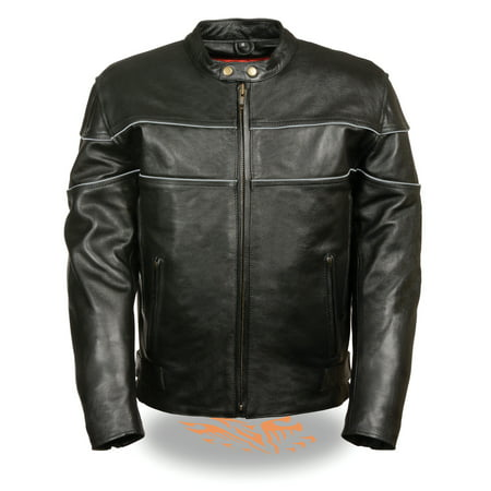 Mens Black Leather Vented Riding Jacket (Black Ride 2 Jacket)
