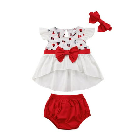 3PCS Toddler Kids Baby Girl Outfits Heart Print Tops Dress+Shorts Clothes Set - Children Clothing Boutique Online