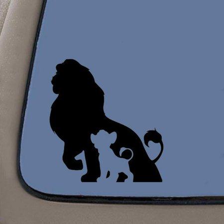 Lion King Father Son Mufasa Simba Inspired Decal Sticker   6-Inches By 5.5-Inches   Black Vinyl   Car Truck Van SUV Laptop Macbook Wall Decals