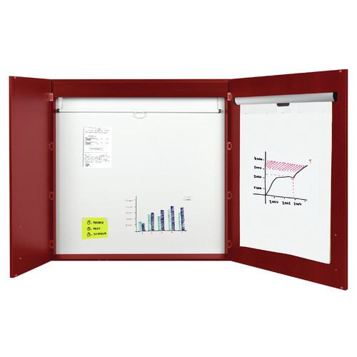 Mastervision 3-in-1 Platinum Plus Dry Erase Conference Magnetic Enclosed Whiteboard, 4' H x 4' W