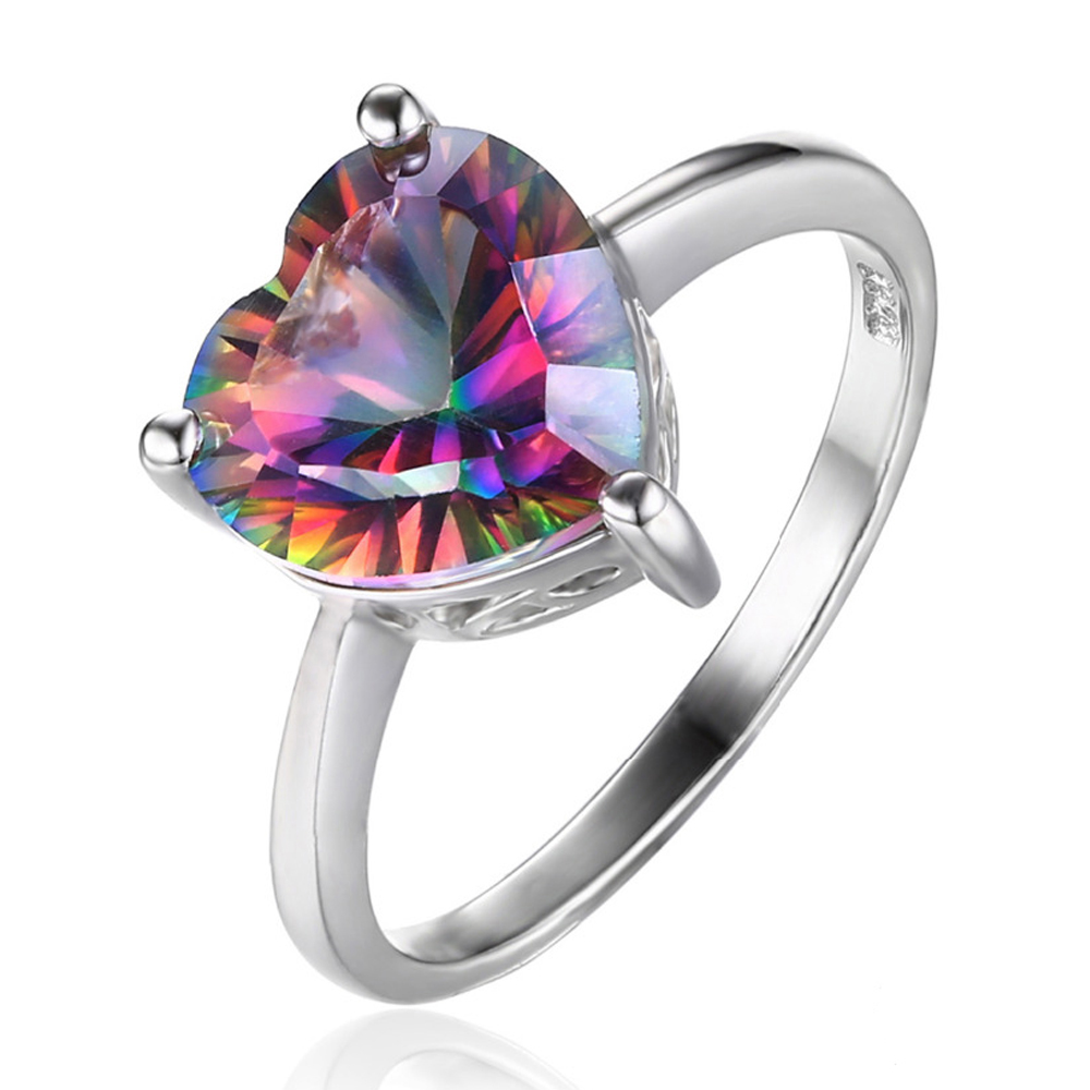 3 1/6 CT Heart Mystic Topaz Cocktail Ring in .925 Sterling Silver - Size 7 (MDS170262) - image 2 of 2
