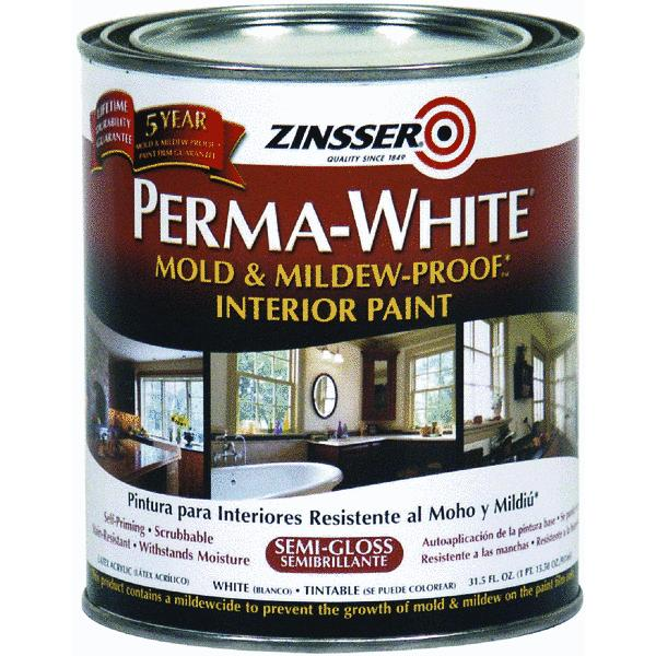 Zinsser Quart Semi-Gloss Perma-White  Mildew-Proof Bathroom Paint 02754