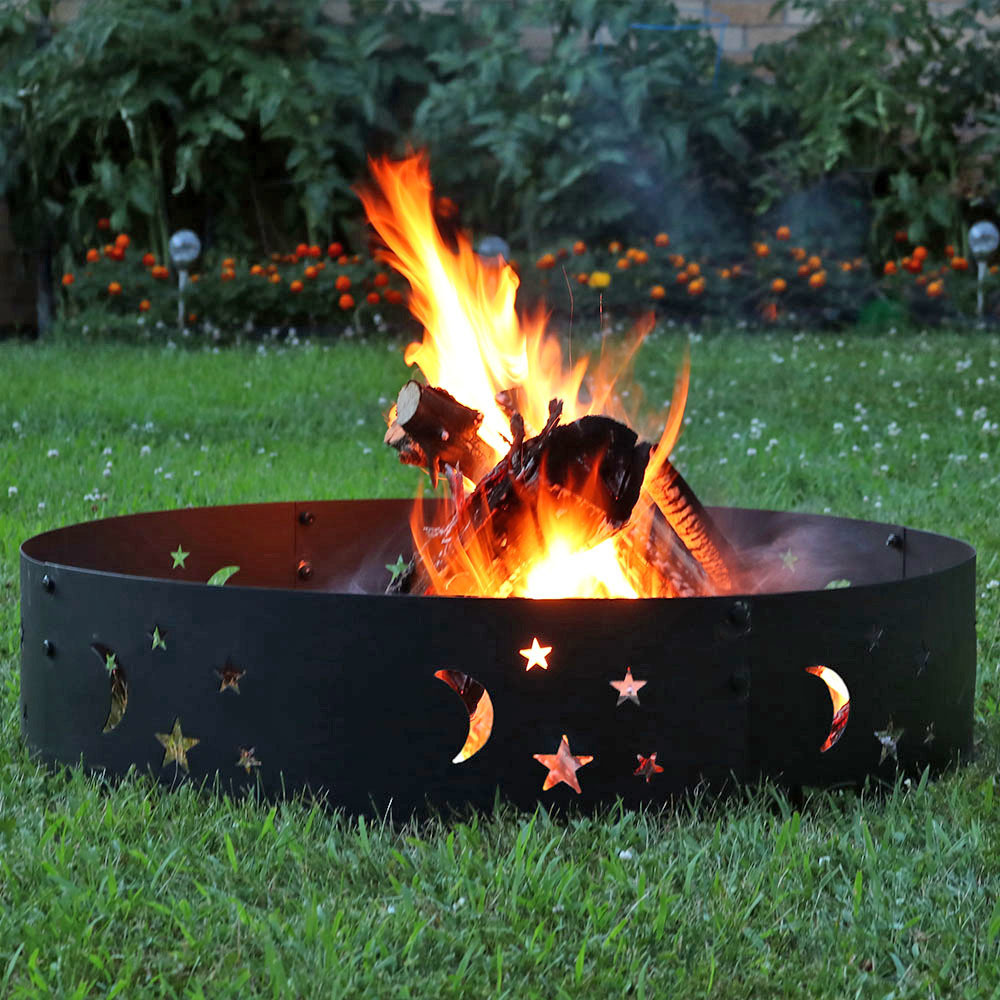Sunnydaze Big Sky Fire Pit Campfire Ring, Large Outdoor Heavy Duty Metal Wood Burning Firepit, 36 Inch