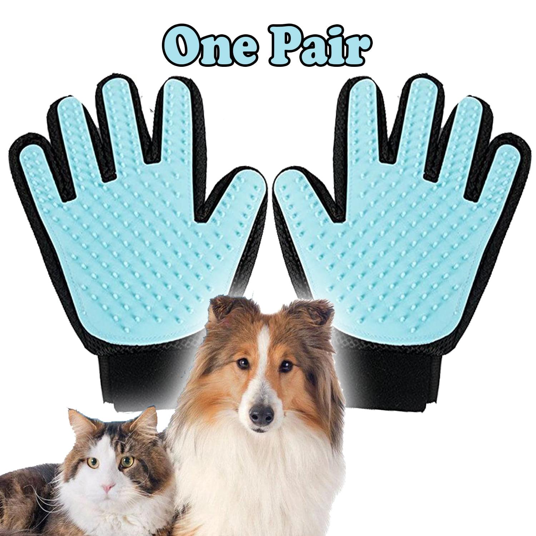 Pet Grooming Gloves Brush Dog Cat Hair Remover Mitt Massage Deshedding 1 Pair Light Blue