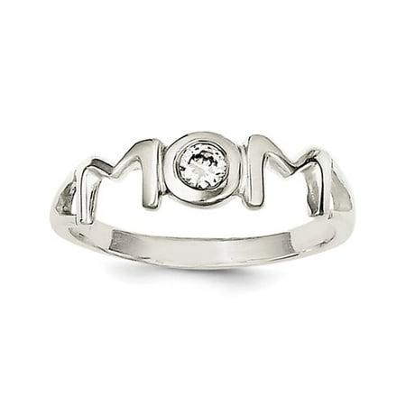 925 Solid Sterling Silver & Bezel Set CZ Small Polished Mom (Bezel Set Cubic Zirconia Ring)