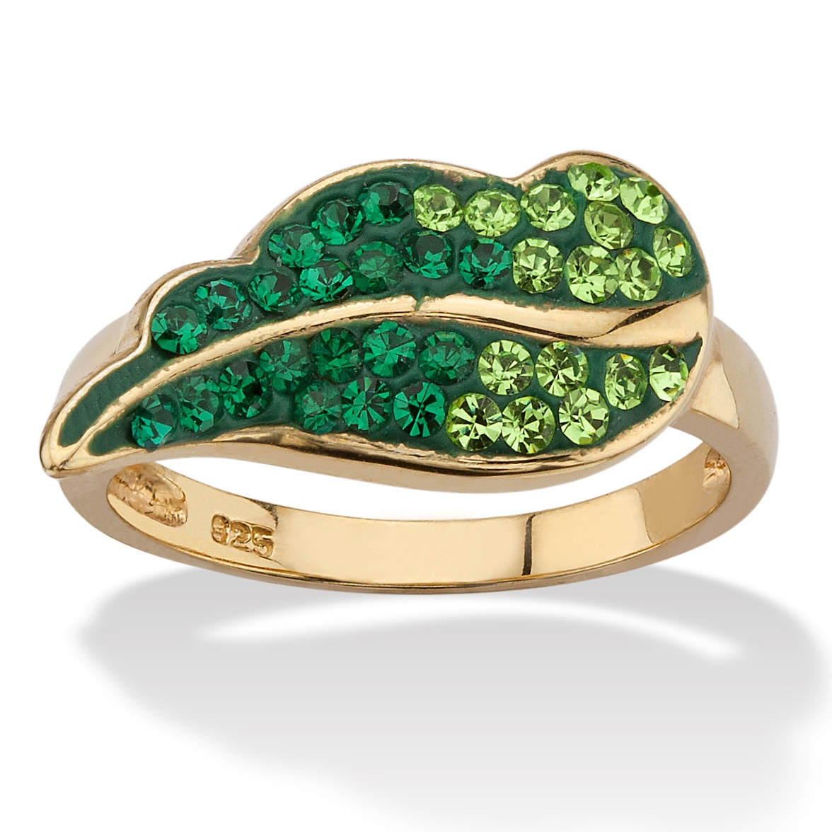 Pave Evergreen Crystal Leaf Ring MADE WITH SWAROVSKI ELEMENTS in 14k Gold over Sterling Silver