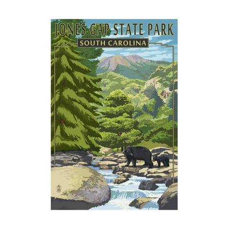 Jones Gap State Park, South Carolina - Creek and Bear Family Print Wall Art By Lantern Press