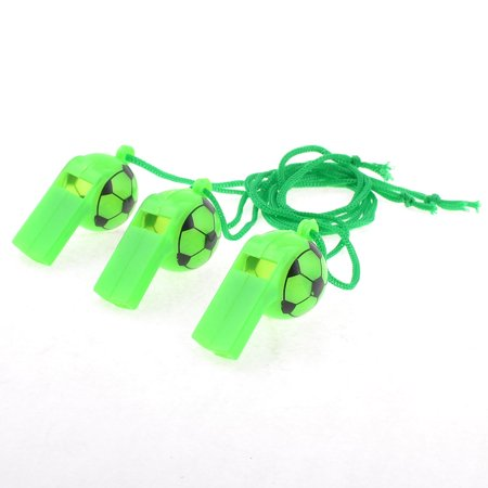 Sports Game Neck String Football Print Plastic Referee Whistles Green 3 Pcs - Football Whistles