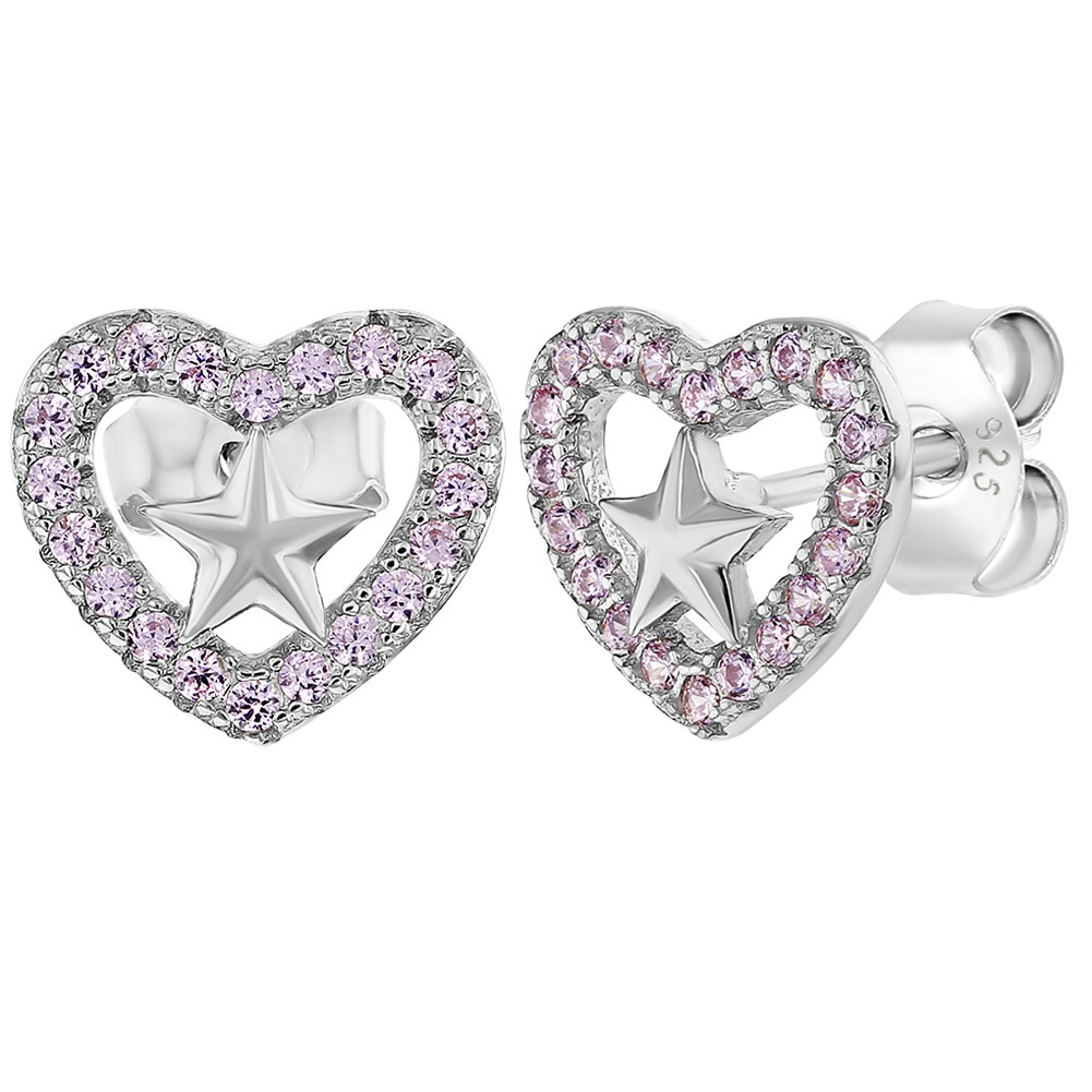 925 Sterling Silver Pink CZ Open Heart Star Stud Earrings for Girls or Teens - image 5 of 5