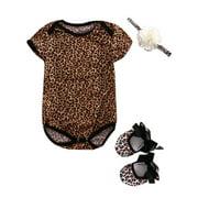 Baby Girls 3PCS Outfit Set, Floral Leopard Romper Headband Straps Tie Shoes