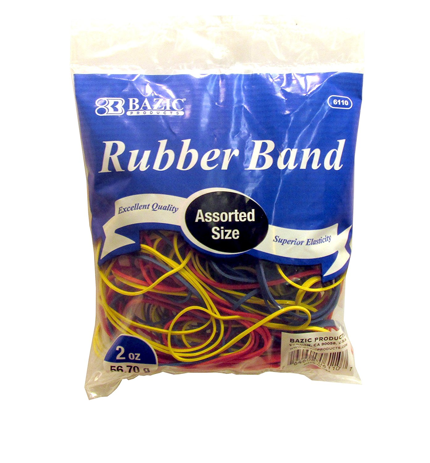 Assorted Rubber Bands, Multi Color, 227g/0.5 lbs. (Pack of 6), Assorted sizes, colors, and thickness. By Bazic
