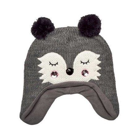 Women's San Diego Hat Company Knit Raccoon Beanie with Ear Flaps KNH3564 Grey One Size - Raccoon Skin Hat