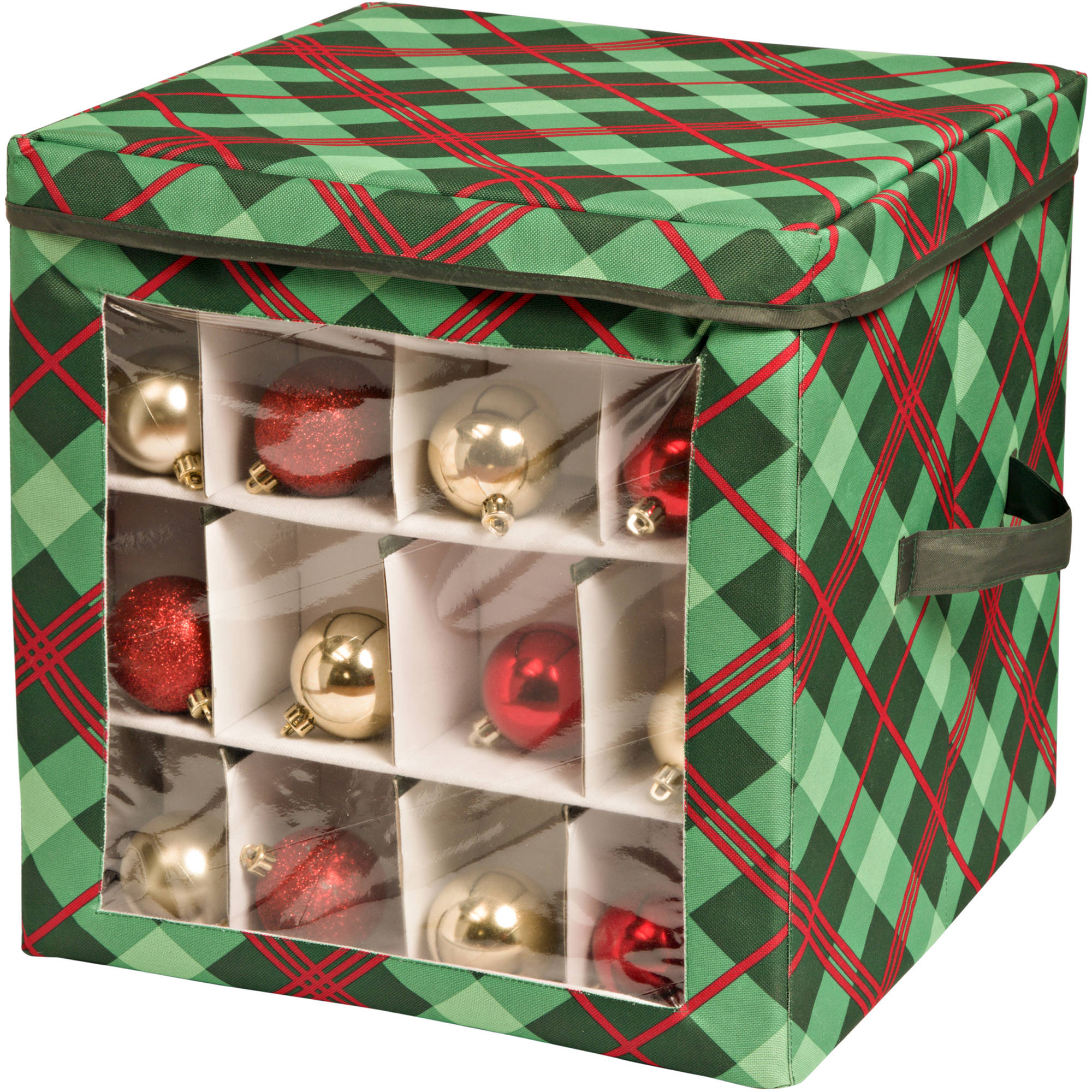Honey Can Do Limited Edition Collapsible Plaid Ornament Storage Cube