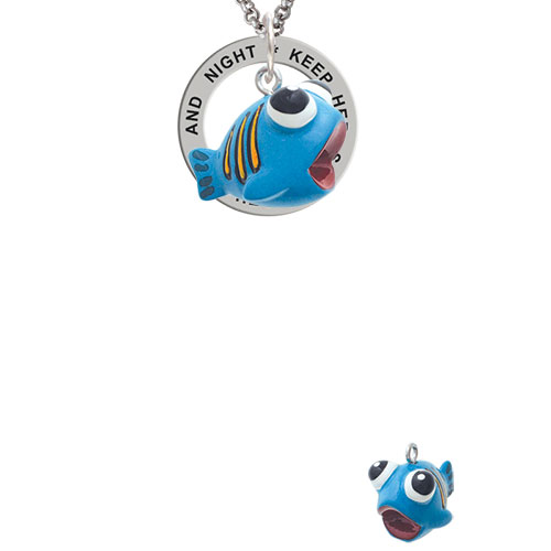 Resin Blue Fish with Orange Stripes Keep Her Safe Both Day And Night Affirmation Ring Necklace