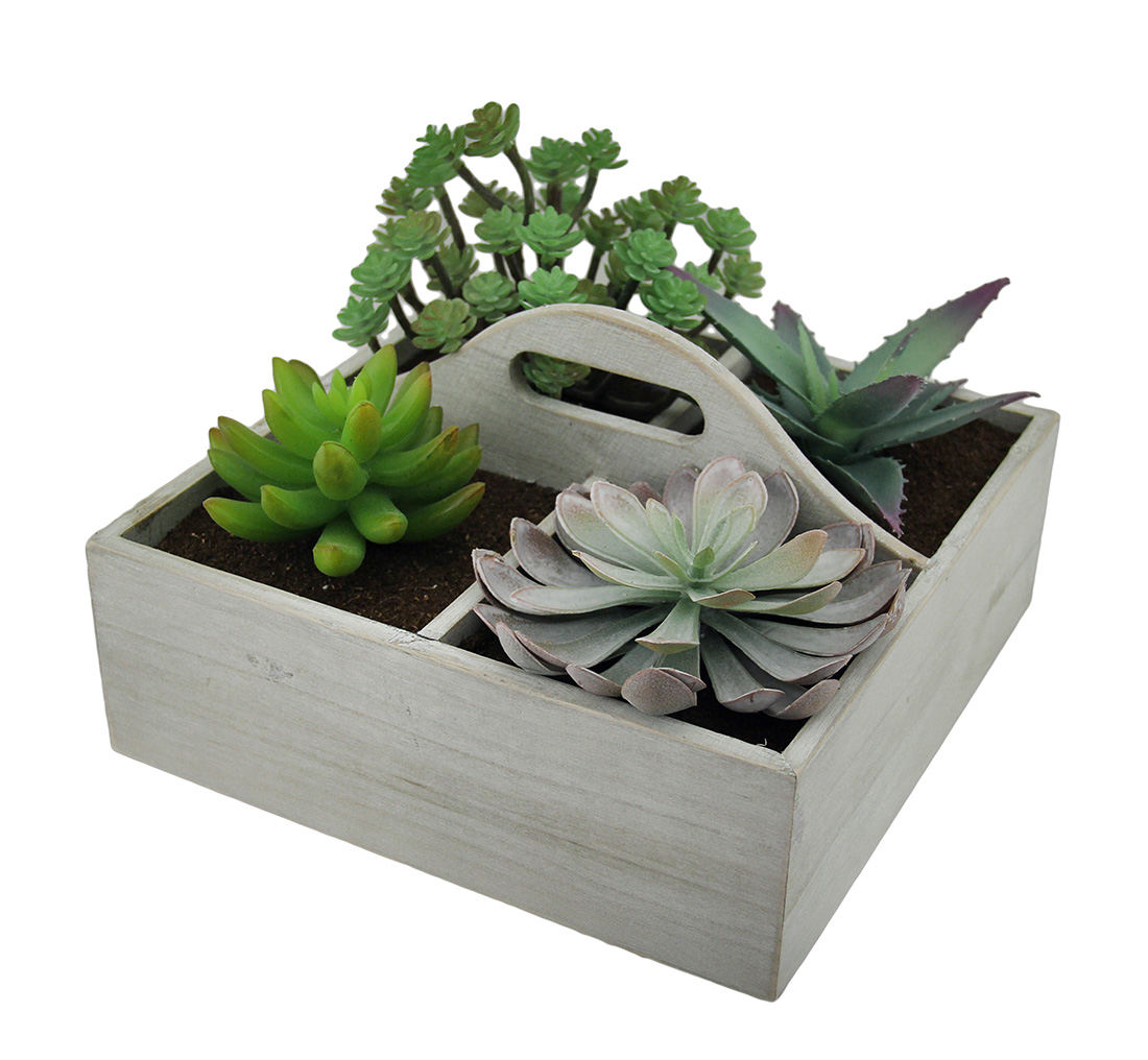 Artificial Succulent Plant Garden in Wooden Box