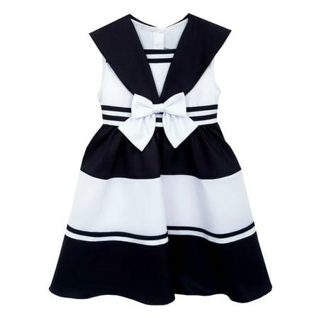 Rare Editions Big Girls Sailor Dress Nautical Stripes  10