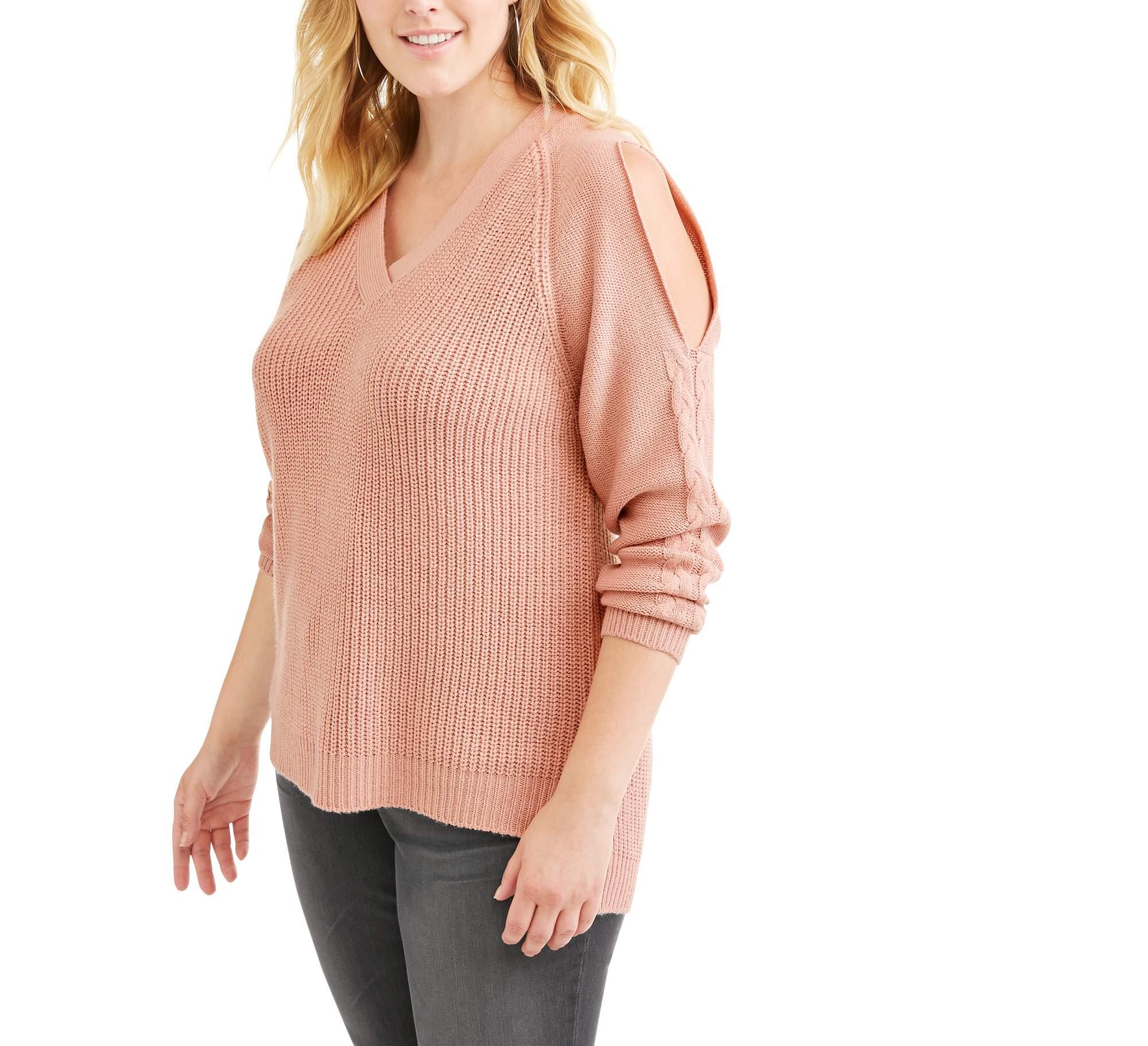 Juniors' Plus Cold Shoulder Cable Sweater