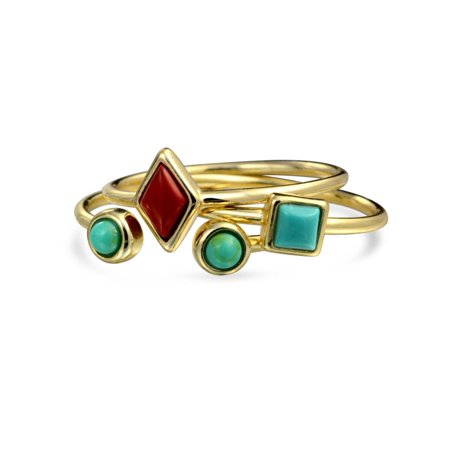 - Open Set of Three Compressed Turquoise Stacked Midi Ring Set of 3 14K Gold Plated 925 Sterling Silver