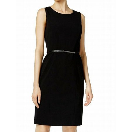 Deep Womens Belted Seamed Sheath Dress 2